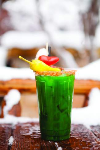 The Ritz Carlton Bachelor Gulch's bloody mary is green, thanks to the additon of kale and spinach.