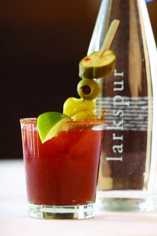 Larkspur's bloody mary features an Old Bay seasoned rim and the special Stevenson pickle garnish.