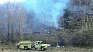 Summit County firefighters responded the afternoon of Monday, May 5, to a wildfire off Colorado Highway 9 north of Silverthorne. As of 7 p.m. the fire, burning 5 acres of shrubs and dead-standing aspens, was about 20 percent contained.