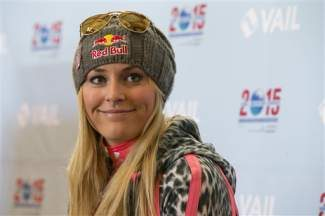 In this Nov. 8, 2013, photo, Lindsey Vonn speaks at a press conference at Gold Peak, Vail. Reigning Olympic downhill champion Vonn has crashed while training ahead of her return to racing following major knee surgery. U.S. Ski Team spokesman Tom Kelly says Tuesday, Nov. 19, that Vonn is being evaluated at a hospital after being taken off the slope at Copper Mountain on a sled. AP file photo/Nathan Bilow