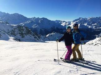 Jess and Dave Schnoll celebrate their honeymoon while participating in Vail Resorts' Epic Race Dec. 13 in Verbier, Switzerland.