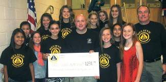 Eagle Valley Middle School raised more than $1,200 for Eagle County Animal Services. Presenting the check are, from left, Araceli Hanson, Sofie Boggs, Taylor Calton, Janeth Chavez, Sydney Wiemer, Robyn Hanson
