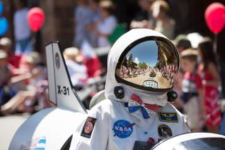 An astronaut's view of the Vail America Days parade shows West Meadow Drive packed with people dawning red, white and blue Monday on the Fourth of July. This year's theme was the Spirit of America.