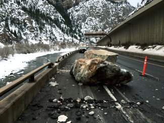 Rocks damaged a guardrail in the Glenwood Canyon this morning, but caused no injuries or accidents.