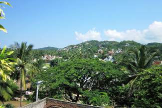 A variety of homes are built into the hill above Sayulita's main village. Folks staying on the hill often drive down in golf carts to get to the village and the beach.