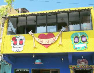 Colorful structures like this one are common in Sayulita, with plenty of folk art available for purchase, like sugar skulls.