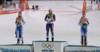 Eagle-Vail resident Mikaela Shiffrin stands atop the podium at the 2014 Olympics after winning gold in the slalom Friday.