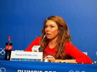 Mikaela Shiffrin, of Eagle-Vail, answers questions from reporters during a news conference Saturday at the Gorki Media Center in Krasnaya Polyana, Russia.