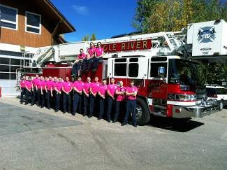 Eagle River firefighters are proud to wear pink for the month of October in support of Breast Cancer Awareness Month.