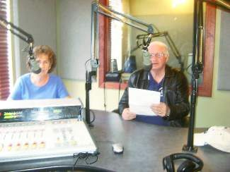 Barb Allen and Buddy Sims record a public service announcement at KZYR, 97.7, asking residents to attend the BoCC meeting on Oct 29 at 10 a.m. to protest the county land use regulation allowing five new retail marijuana establishments in unincorporated Eagle County.