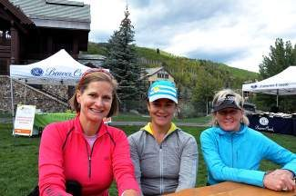 """Manager of Jack's Place Kim Sharkey and VVMC's Office of Development team members Meg Stepanek and Cheryl Lindstrom enjoy the """"window of great weather"""" at the Hike, Wine and Dine event at Beaver Creek Resort.  They would like to thank event organizer Sue Franciose and the Shaw Outreach Team for putting on a great event."""