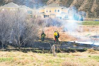 This fire  burned less than half an acre of brush and shrubs, north of the soccer field at the Brush Creek Pavilion, between the soccer field and Brush Creek. It started approximately 3 p.m. on Saturday and was mostly out by 4 p.m. Saturday. Photo by Eric Rosenquist.