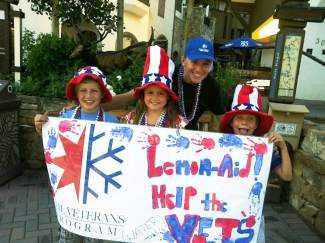 Vail kids making a difference. Stop by our lemon aid and bead stand during the Fourth of July parade in Vail Village. All of the money we raise helps the Vail Veterans Program. Help us reach our goal of bringing a soldier and his family to Vail. Our stand is in front of the DUE Luca Bruno store on Meadow Drive. Thank you, veterans!