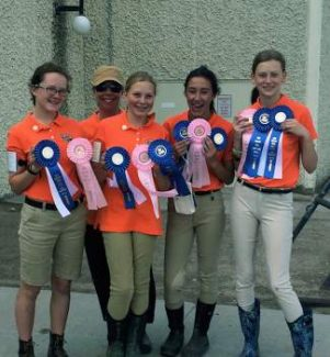 Congratulations to the Eagle River Pony Club for their amazing showing at the Rocky Mountain Region  Mega Rally in Cheyenne, WY. The team placed first place in horse management, first place in the Quadrille and fifth place for their individual Dressage Tests. The team included Cloe, our trainer Sophie, Lauren, Leah, and Ava.  Way to go girls!