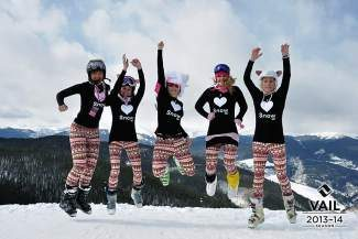 Pink Vail Snowhunnies aka Team Schleper enjoy the pinkest day of the year on Vail Mountain!