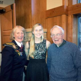 Pat Hammon presents VFW scholarship to Vail Mountain School graduating senior Clare Baker and meets her grandfather, Col. Daley. Pat and Col. Daley were both in Vietnam in the same area! Clare will be going to Colorado University - Boulder and majoring in integrated physiology. Congratulations to Clare!