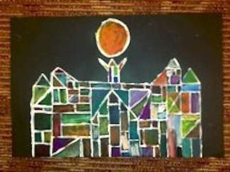 """Stone Creek Charter School's fifth graders were inspired by Paul Klee's famous painting """"Castle and Sun"""" and created beautiful works of art.  Made with paint and oil pastels, these students love to get dirty in their art class with teacher Tara Goike.  Artists include: Rebecca Schiffanelli, Josh Keiser and Brandon St. Onge."""