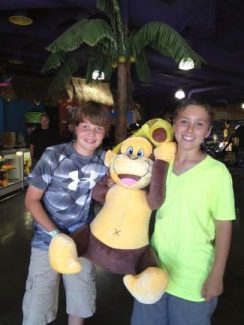 Cousins Brandon and Brock Sanger won $2,500 worth of tickets at Bananas Fun Park and won this awesome monkey! Congratulations on winning the big ape!