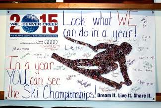 "Never let it be said that the students at June Creek Elementary School don't apply themselves to their work. The entire student population, approximately 320 students, contributed their individual photos to the winning submission in the recent 2015 World Championships School Banner contest. The banner is called  ""Look What We Can Do In A Year."" As a result of their winning entry, students will enjoy a school-wide ice cream social on Friday and have selected the United States as their country to adopt for the  Championships."