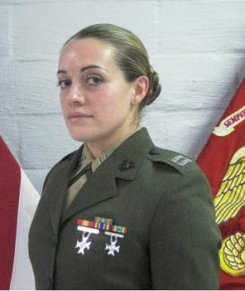 """From headquarters of the U.S. Marine Corps: """"Captain Teresa Q. White/USMCR has been selected as the recipient of the 2013 chambers award for outstanding leadership. Captain White was selected after a thorough deliberation by a board of field grade officers. The competition was exceptionally keen. Nominees had exemplary records which indicated noteworthy leadership and command ability.""""Captain White is assigned to Trans SVCS Co., Combat Logistics Battalion 23, Combat Logistics Regiment 4, 4th Marine Logistics Group in California. Captain White is the former Tess Quinn, of Eagle. Her parents are Terry Quinn and Jackie Potter, of eagle."""