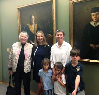 From left, locals Grace Goodrich Bochain, Mary and Cathy Bochain, James, Anson and Isabel, descendants of Yale School of Nursing founder Annie Warburton Goodrich, attend the dedication ceremony of the new YSN center in Orange, Conn.