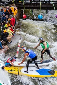 Spectators yell to competitors as they try to stay on their feet while going around the final obstacle during the GoPro Mountain Games' paddle cross in Vail in June. Water and the area's rivers were the topic of a recent meeting with Vail business owners and experts from the Colorado Water Plan boards. The committee wants to engage the local business community in making future plans for the state's rivers.