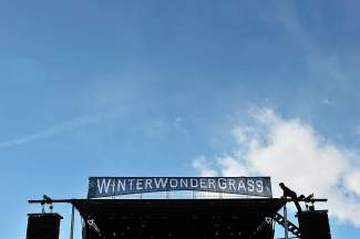 Jesse Baiotto, of Denver, works on rigging up the sound system for the second annual WinterWonderGrass Festival on Thursday at Nottingham Park in Avon. The festival is Friday through Sunday, beginning at 3 p.m. each day, and includes 17 breweries giving tastings and live music from 14 bands.