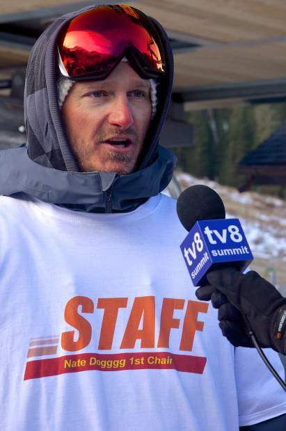 First-chair veteran and Silverthorne local Justin Smith talks with a news station about an hour before loading the first chair of the 2016-17 season on Oct. 21 at Arapahoe Basin. Smith and a small crew camped out for two days before then to secure first chair.
