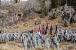 Colorado Army National Guard first battalion, 157th Infantry Regiment (Mountain) companies, who operate out of the armory in Grand Junction, stand in attention during a redesignation ceremony Sunday at Camp Hale, in celebration of the return of the 10th Mountain Division patch to Colorado.
