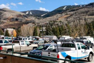 The top deck of Lionshead parking structure, shown Wednesday in Vail, has been filling faster than usual with construction workers' vehicles due to the amount of projects taking place in Vail.