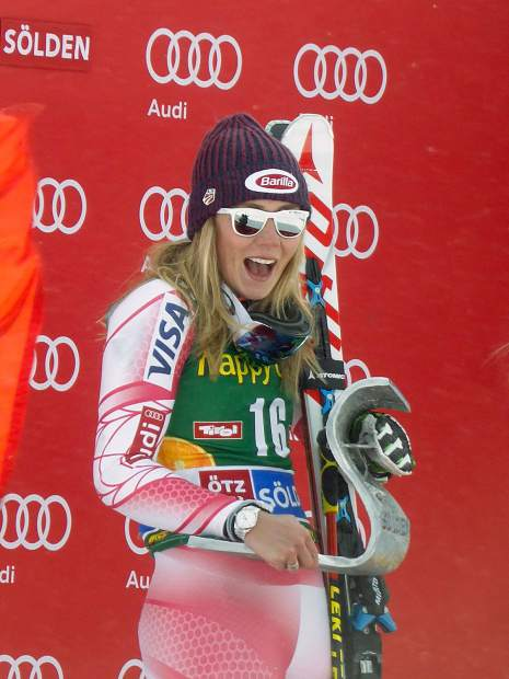 Eagle-Vail's Mikaela Shiffrin enjoys the moment after one of her runs Saturday in the giant slalom in Soelden, Austria.