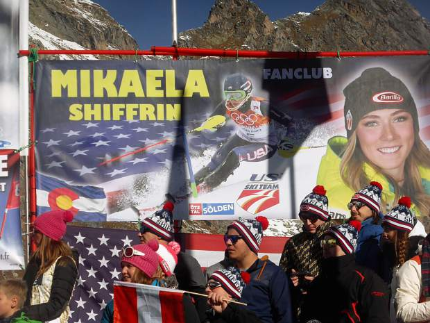 There was plenty of support for Eagle-Vail's Mikaela Shiffrin at the women's giant slalom World Cup race Saturday in Soelden, Austria.