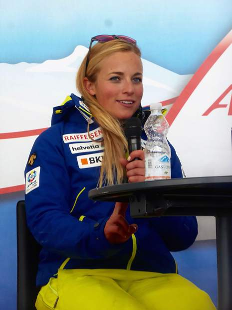 Lara Gut talks about her stellar performance Saturday after the women's giant slalom in Soelden, Austria.