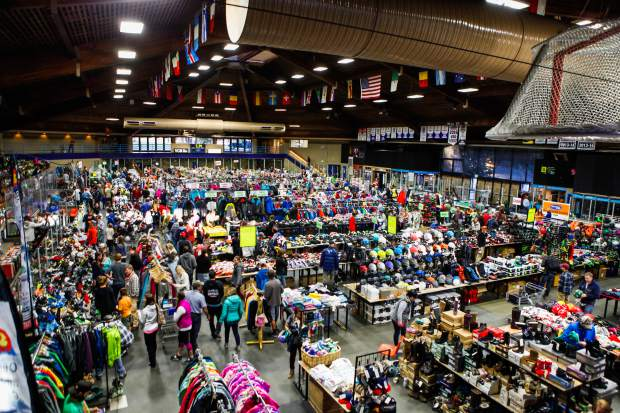 The floors of Dobson Ice Arena start to fill in with costumers of the annual Ski and Snowboard Swap, Friday, in Vail. The event runs until 2 p.m., Sunday.
