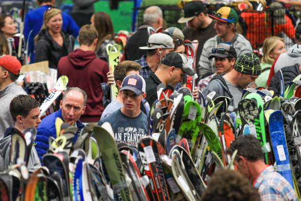 People pack the floors of the Vail Ski and Snowboard Swap, Friday, in Vail. Doors open today at 9 a.m. and admission is free.