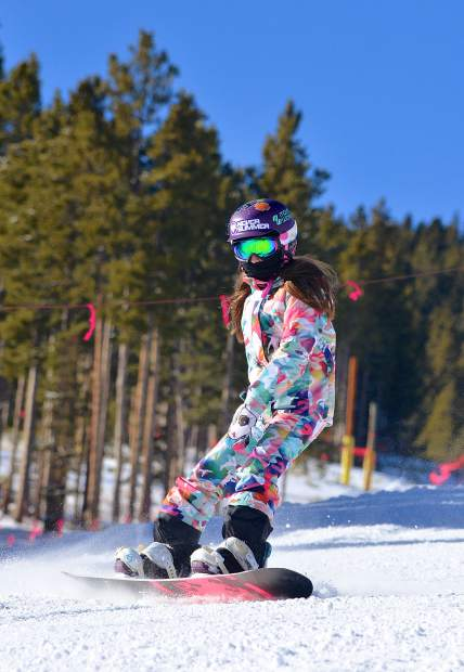 A young snowboarder makes her way down the final pitch of lower Springmeier shortly after the first chair of the 2016-17 ski season on opening day at Breckenridge Ski Resort Nov. 19. More than 3,000 skiers and snowboarders came to Breck for top-to-bottom skiing on two runs: Crescendo and lower Springmeier.