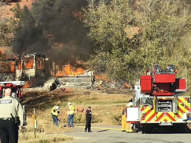 This house was destroyed by fire Friday south of Glenwood Springs.