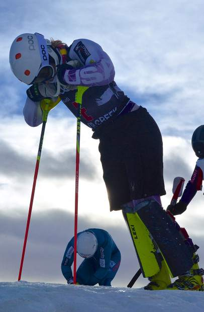 An American skier rests near the top of the slalom course at the U.S. Ski Team Speed Center in Copper on Nov. 16. More than 100 World Cup skiers from across the globe came to the Speed Center for early-season training before the season begins in full.