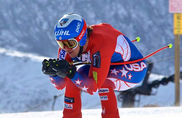 A U.S. Ski Team racer tucks through the upper section of Andy's Encore at Copper Mountain for training at the resort's early-season Speed Center. More than 100 national team athletes came to the resort in November for training, despite low snow that prevented Copper from opening a full downhill course.