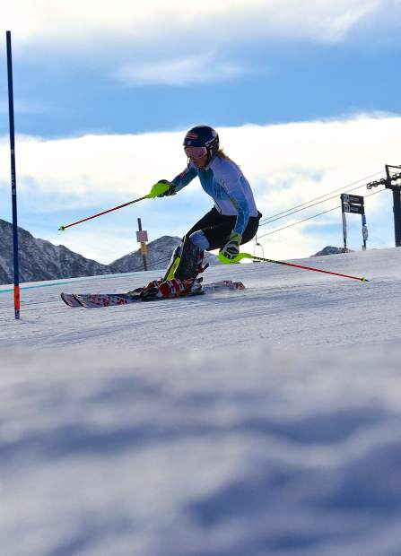 EagleVail native and Olympic gold medalist Mikaela Shiffrin works through the gates during early-season training at the U.S. Ski Team Speed Center at Copper Mountain. Shiffrin already has one World Cup win under her belt this season, a slalom in Levi, Finland for her 12th-straight World Cup slalom win.