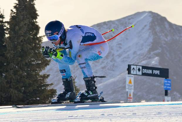 A ski racer tucks on the upper section of Andy's Encore during early-season training at the U.S. Ski Team Speed Center at Copper Mountain on Nov. 16.