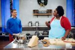 Food network host Bobby Deen watches contestant Amber Croom from Vail preparing her dish, Praline Pecan Bundt Cake and Pecan Sandies, for the main heat, Holiday Bundt Cake Wreaths. The Holiday Baking Championship opens Sunday and runs seven weeks.