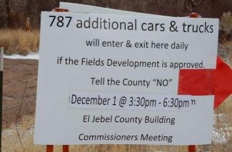 Opponents of The Fields application in the El Jebel area posted this sign to make sure residents of the neighborhood were aware of a meeting on Thursday.