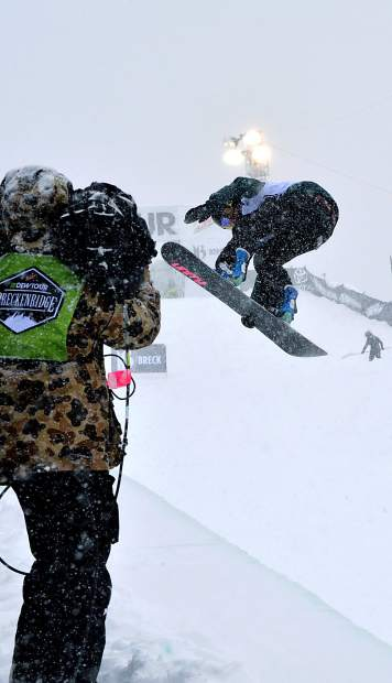 Steamboat Springs rider Arielle Gold spins for the TV audience during the women's Dew Tour snowboard halfpipe final on Dec. 12. On Nov. 30, Dew Tour officials canceled the 2016 superpipe competiiton due to late and low snowfall.