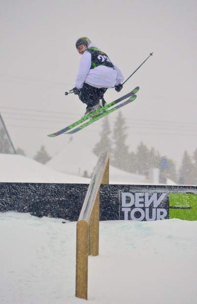 Armada team rider Henrik Harlaut spins a 450 onto the final down tube on the Dew Tour jib course at Breckenridge. Harlaut and teammate Quinn Wolferman combined to take fifth overall at the inaugural freeski Team Challenge on Sunday.