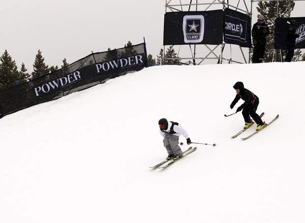 Armada team captain Tanner Hall follows team skier Quinn Wolferman into the first section of the Dew Tour jib course at Breckenridge. Wolferman and teammate Henrik Harlaut, winner of the individual men's ski slopestyle on Saturday, combined to take fifth overall at the inaugural freeski Team Challenge on Sunday.