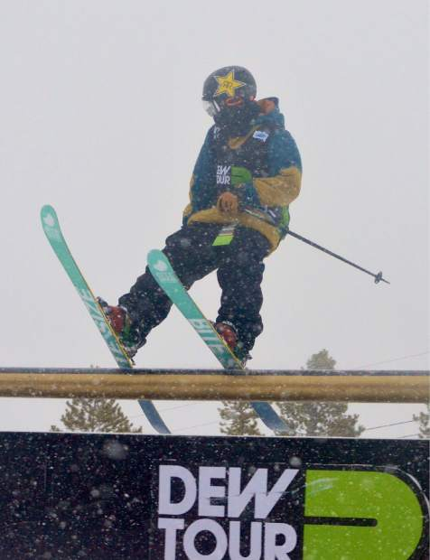 Volkl team rider Nicholas Goepper on the middle section of the Dew Tour jib course at Breckenridge. Goepper and teammate Alex Beaulieu-Marchand combined to take second overall at the debut freeski Team Challenge on Sunday.