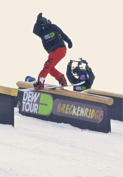 Burton team rider Darcy Sharpe on the first section of the jib course at Dew Tour in Breckenridge. Sharpe and teammate Mark McMorris combined on Sunday at the course to win the first-ever snowboard Team Challenge title.