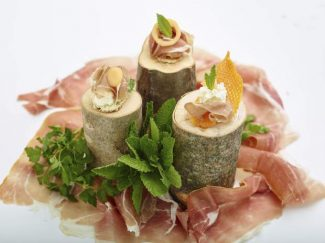 Prosciutto and melon canapes in Hyde Park, New York. This dish is from a recipe by the The Culinary Institute of America.