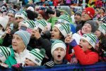 Vermont ski racers from VARA scream as Mikaela Shiffrin comes down Superstar during the Audi FIS Ski World Cup at Killington.